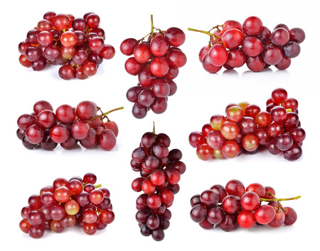 red grape: red grape isolated on white background Stock Photo