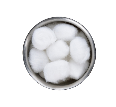 wadding: Cotton wool container on white background.