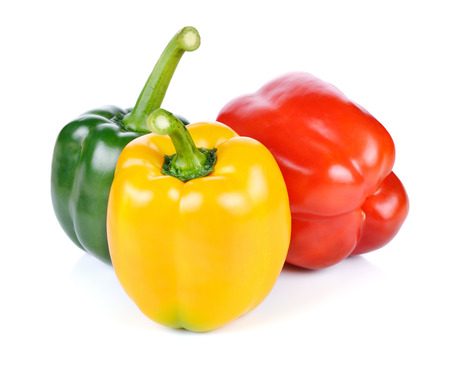 bell peper: colored peppers over white background