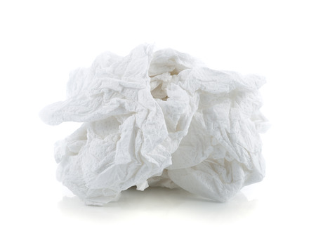 crumpled tissue: crumpled tissue paper isolated on white background.