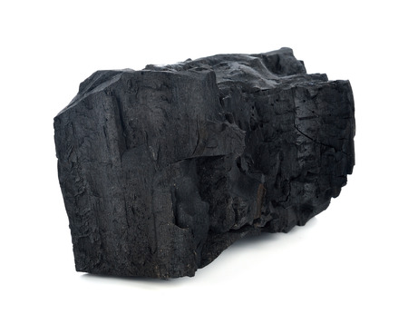 combust: Natural wood charcoal isolated on white, traditional charcoal or hard wood charcoal, isolated on white background Stock Photo