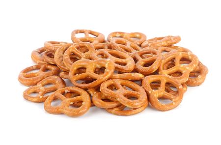 Salted pretzels on white background Stock Photo