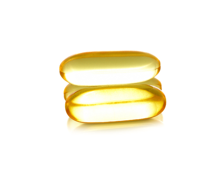 vitamine: Cod liver oil omega 3 gel capsules isolated on white background