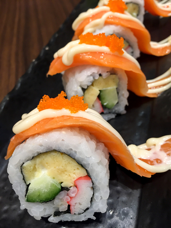 Sushi roll with salmon. Japanese food Stock Photo