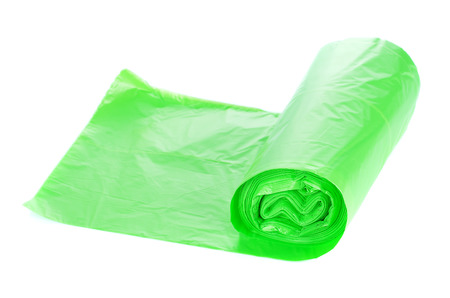 Rolls of garbage bags isolated on white Stock Photo