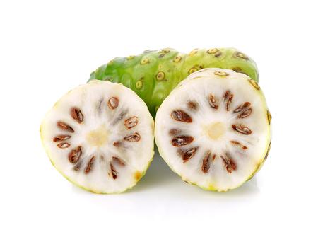Noni fruit on white background Stock Photo