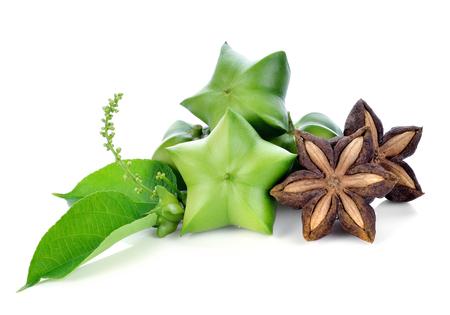 白い背景の上のサシャ インチ、新鮮なカプセル種子サシャ インチ ピーナッツの実