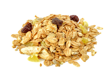 mix granola cereals on white background. Stock Photo