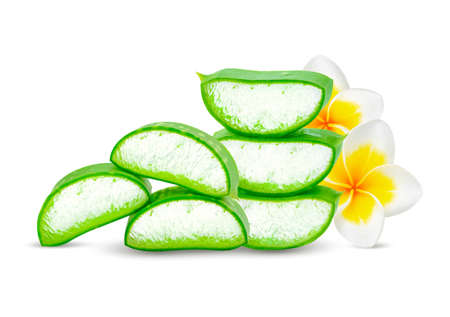 Aloe vera leaves and Plumeria flowers isolated on white background
