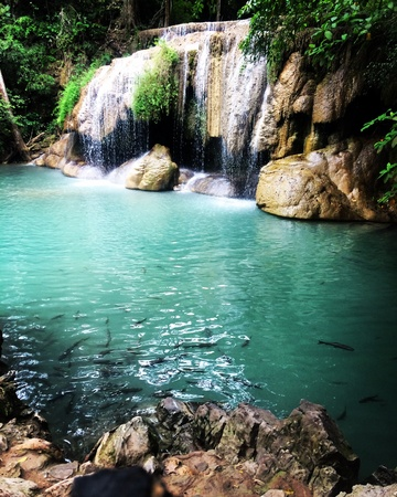 Waterfall background with clear water, Erawan waterfall Thailand Stock Photo