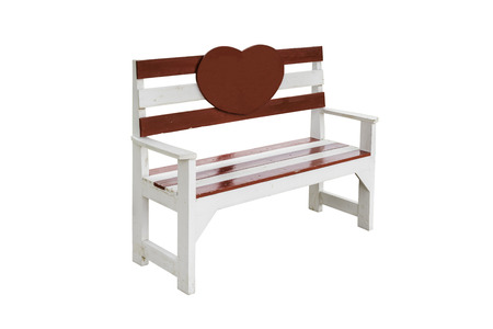 vintage wooden bench isolated on white background with clipping path photo