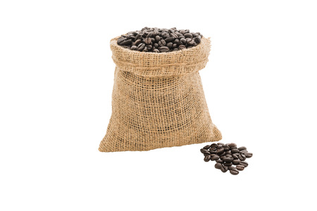 burlap sack: Coffee beans in burlap sack isolated on white background
