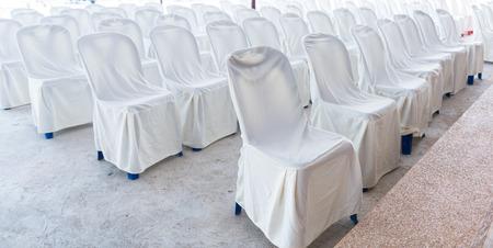 elegantly: Empty wedding chairs elegantly decorated