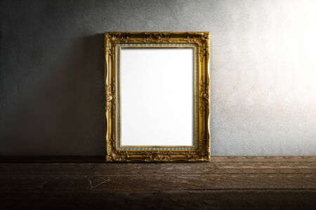still life of luxurious photo frame on wooden table over grunge background. vintage tone Stok Fotoğraf - 38799452