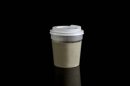 takeout: Close take-out coffee with cup holder. Isolated on black background with Reflections and  clipping