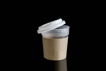 takeout: Opened take-out coffee with cup holder. Isolated on black background with Reflections and  clipping