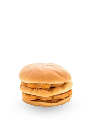 white backgroung: chicken hamburger isolated on white backgroung with clipping path