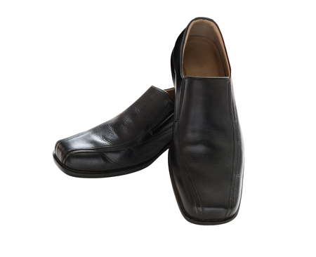 brogue: Black leather mens shoes isolated on white background, with clipping path Stock Photo