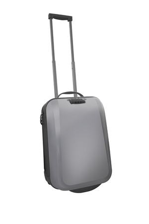 haversack: White Travel luggage isolated on the white background. with clipping path Stock Photo