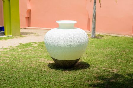 contemporary style: Vintage ceramic pot, Garden decoration. contemporary style Stock Photo