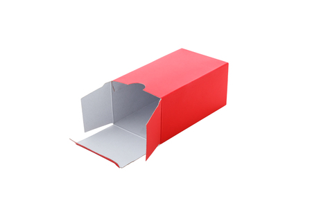 ship order: Open Red Paper Box isolated on a White background