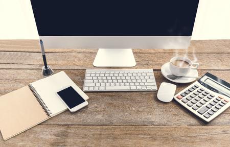 Office equipment on desktop. Workspace or background