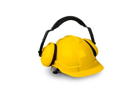 dangerous construction: Hard hat and ear muffs isolated on white background Stock Photo