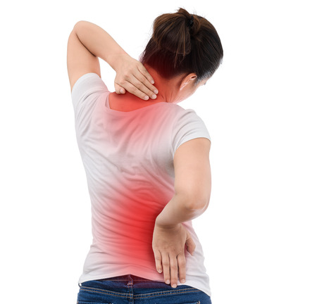 Spine osteoporosis. Scoliosis. Spinal cord problems on woman's back. isolated on white background