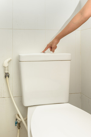 woman's finger pushing button and flushing toilet