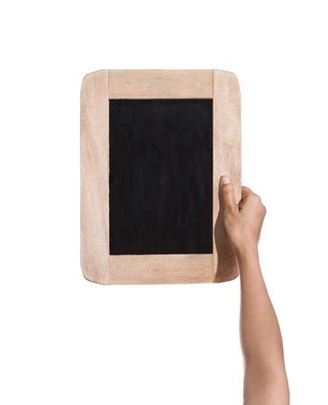 slate board: female hands holding slate board, blackboard isolated on white background Stock Photo