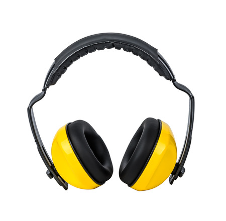 decibels: Protective ear muffs Isolated on a white background with clipping path
