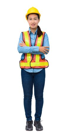 female worker with Protection Equipment isolated on white background with clipping path Stock Photo