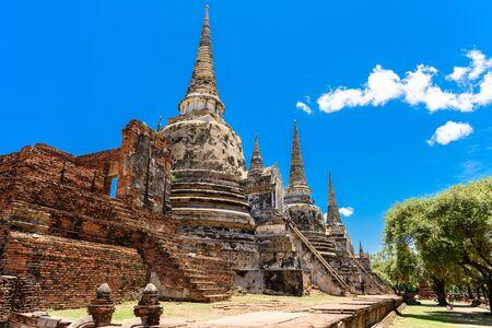 si: Ancient Pagoda in Wat Phrasisanpetch (Phra Si Sanphet). Ayutthaya historical city, Thailand. Ayutthaya Historical Park