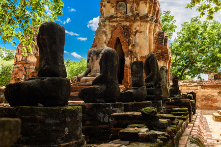 sacked: Principal Buddha, a beautiful ancient site in Wat Maha That Ayutthaya Stock Photo