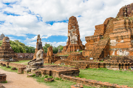 Ayutthaya temple ruins, Wat Maha That Ayutthaya Stock Photo