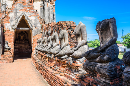 Majestic ruins of 1629 Wat Chai Watthanaram built by King Prasat Tong with its principal Prang (center) representing Mount Meru, the abode of the gods in Ayutthaya, Thailand