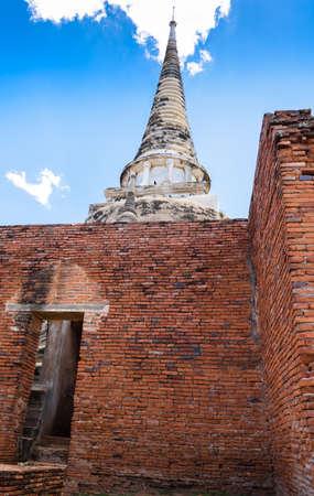Ancient Pagoda in Wat Phrasisanpetch (Phra Si Sanphet). Ayutthaya historical city, Thailand. Ayutthaya Historical Park