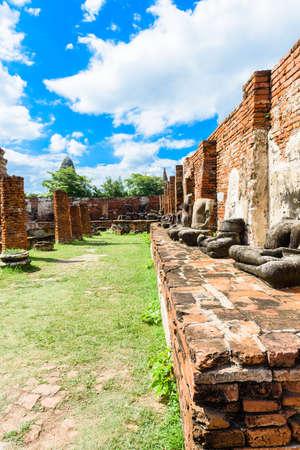 that: Ayutthaya temple ruins, Wat Maha That Ayutthaya Stock Photo