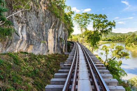 Death railway, over the Kwai Noi River at Krasae cave, built during World War II,Kanchanaburi Thailand