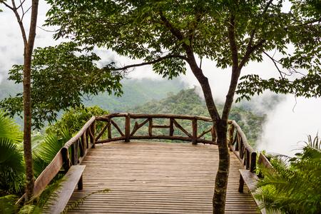kanchanaburi: Mountain with tree bridge view point kooddoi hill at national park, thongphaphum national park, kanchanaburi, thailand Stock Photo