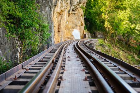 floating bridge: Death railway, over the Kwai Noi River at Krasae cave, built during World War II,Kanchanaburi Thailand