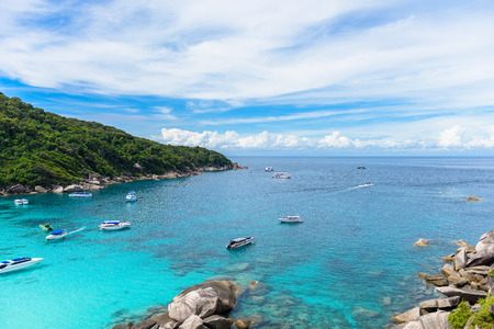 Hight view on tropical turquoise lagoon with sandy beach and tropical forest , Similan Island, Phuket, Thailand
