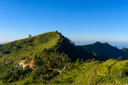 beautiful location: walkway to the viewpoint of Doi Pha Tang ,Chiang Rai province in Thailand.  beautiful location and very popular for photographers and tourists Stock Photo