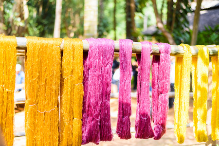 sericulture: various color silk prepare for weaving, Thailand culture