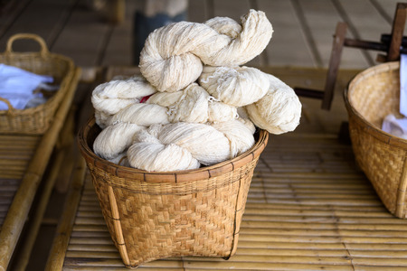 sericulture: Silk that has not been dyed. Sericulture,silks Stock Photo