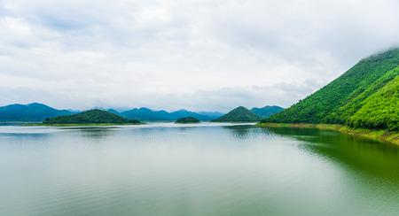 Landscape Natrue and a water mist at Kaeng Krachan Dam. Kaeng Krachan National Park, Petcahburi Thailand,