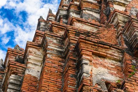 Majestic ruins of 1629 Wat Chai Watthanaram built by King Prasat Tong with its principal Prang (center) representing Mount Meru, the abode of the gods in Ayutthaya, Thailand
