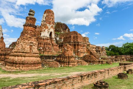 Ayutthaya temple ruins, Wat Maha That Ayutthaya as a world heritage site, Thailand. Ayutthaya historical park Stock Photo