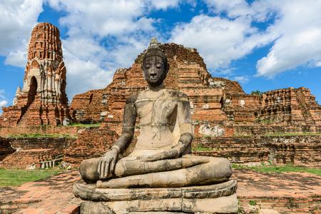 Principal Buddha, a beautiful ancient site in Wat Maha That Ayutthaya Stock Photo