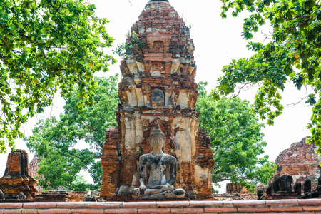 Principal Buddha, a beautiful ancient site in Wat Maha That Ayutthaya as a world heritage site, Thailand. Ayutthaya historical park